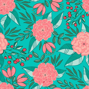 Tropical blooms // Pink and turquoise shades