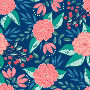Tropical blooms // Blue and pink shades