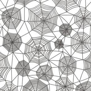 Spider web Halloween Fabric Spiderwebs Black&White