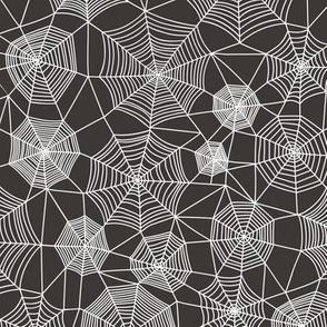 Spider web Halloween Fabric Spiderwebs White on Black