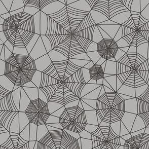Spider web Halloween Fabric Spiderwebs Black on Grey