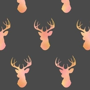 Watercolor Deer - pink/gold/coral on dark gray