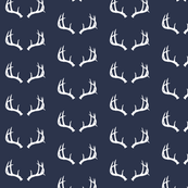 Deer Antlers in Navy and White Mini
