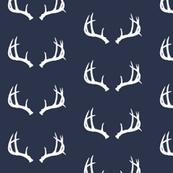 Deer Antlers in Navy and White Mini