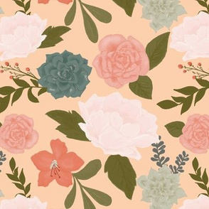 Flowers and succulents on peach