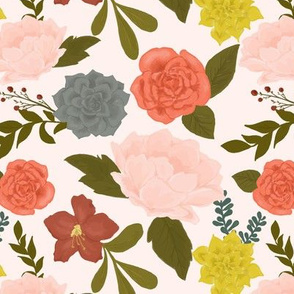 Flowers and succulents on pale pink