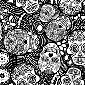 Mexican Sugar Skulls black and white (for colouring in)