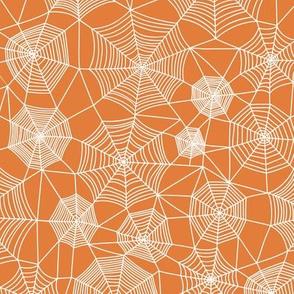 Spider web Halloween Fabric Spiderwebs White on Orange