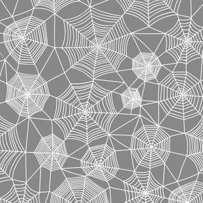Spider web Halloween Fabric Spiderwebs White on Dark Grey