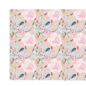 bluebirds and roses placemats