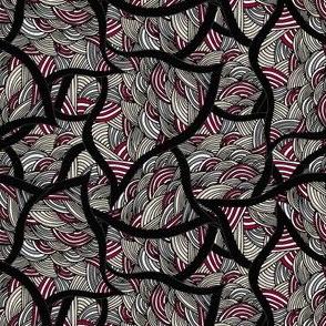 Gaze Unto Me Geometrical Waves in Red, Black, Gray, Beige