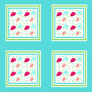 Shell play Square Quilt - blue berry lime punch