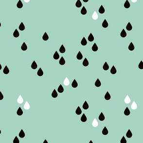 Abstract rain drops sky for little tiny abstract lovers mint black and white