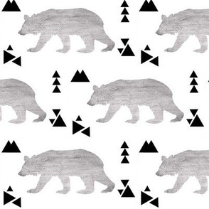 Geometric Bears and Triangles in Brushed Gray and Black