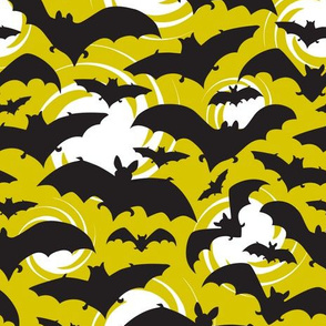 Night Watch Halloween Bats Yellow Glow
