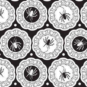 Halloween Spiders Delight Black and White