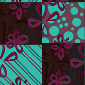 Watercolor Square Floral Dark Pink Aqua