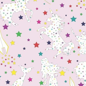 Stars Mermaids Unicorns pink