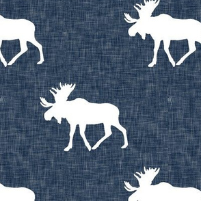 moose on navy linen (large scale)