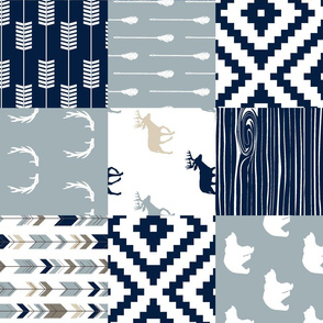 Little Adventurer Blue Wholecloth Patchwork (90)