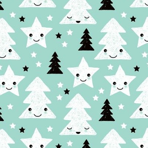 Merry christmas kawaii seasonal christmas trees and stars Japanese illustration print pastel mint