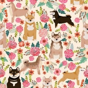 shiba inu mixed red sesame black and tan dogs dog cute dog fabric flowers florals