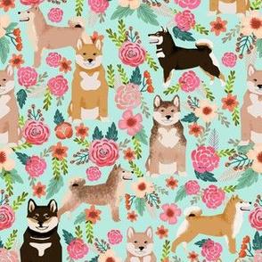 shiba inu florals mint dog dogs pets japanese dog fabric cute japanese dog