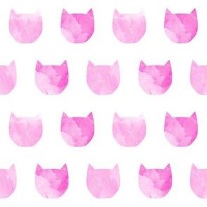 watercolor cat head pink girls nursery sweet cat silhouette pet kitty