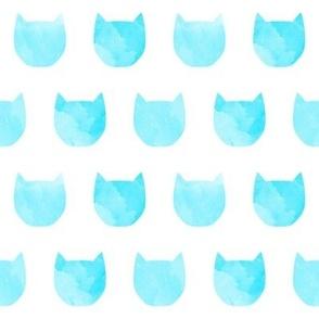 watercolor cat head turquoise teal aqua girls sweet cat kitty cat head