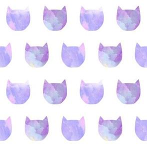 watercolor cat head purple girls sweet painted cat head watercolors sweet cat heads