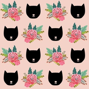 cat head florals pink girls painted vintage florals flowers cute girls design