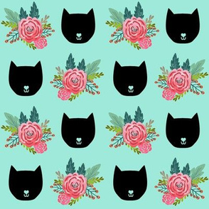 cat head mint florals flowers cute girls sweet cat head fabric for girls