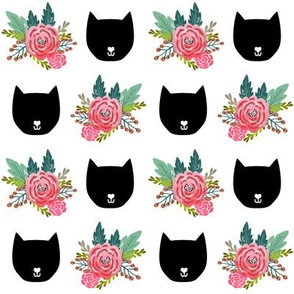 cat head silhouette cute florals girls flowers floral print for girls