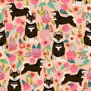 shiba inu peach coral flowers florals girls sweet painted flower dogs pet dogs cute puppy black and tan dog