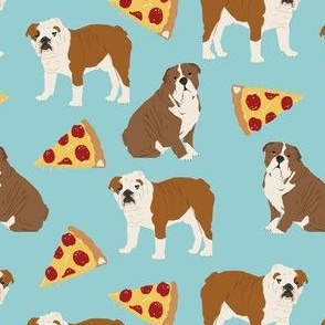 english bulldog light blue pizza fabric cute pets pet dog fabric pizzas