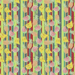 Handpainted fruit on coloured stripes