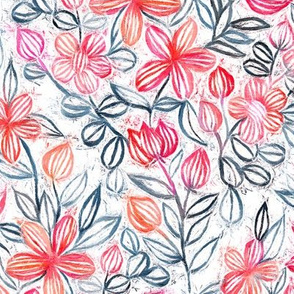 Coral and Grey Candy Striped Crayon Floral