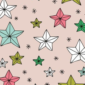 Cool merry christmas stars seasonal print colorful vintage style geometric origami print