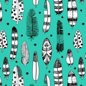 Quirky birds fun Ibiza indian summer vintage inspired feathers in ink fall collection blue green