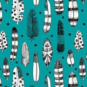 Quirky birds fun Ibiza indian summer vintage inspired feathers in ink fall collection teal blue