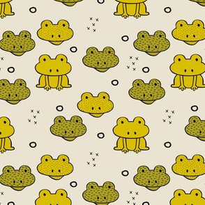 Quirky frog pura vida tropical jungle animals for kids ochre gender neutral