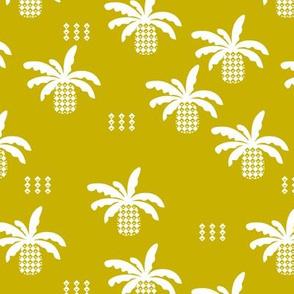 Geometric abstract palm tree pineapple print ochre yellow fall