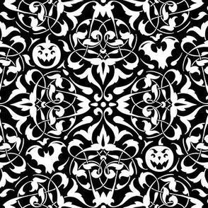 Gothique Halloween Damask Black and White
