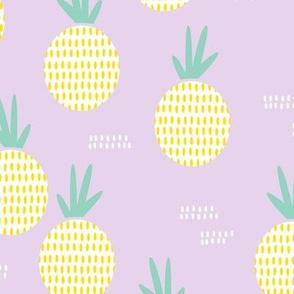 Retro round pineapple fruit kitchen pastel Scandinavian style summer design lilac yellow