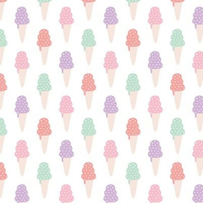 Sweet pastel ice cream cones summer candy sugar print for girls