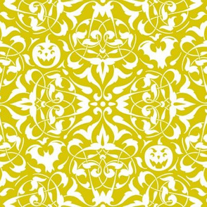 Gothique Halloween Damask Yellow Glow