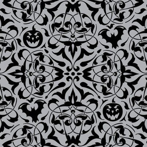 Gothique Halloween Damask Grey