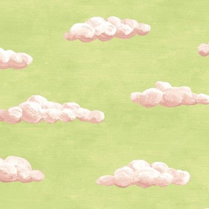 painted clouds - pink on green tea