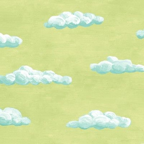 painted clouds - teal on green tea