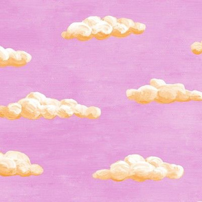 painted clouds - orange on butterfly pink